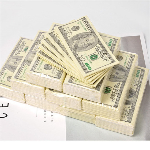100$ Dollars Napkin US Dollar Bill Money Paper Towel Party Tricky Gift 10pc Disposable Napkins Wedding Party Birthday Decoration