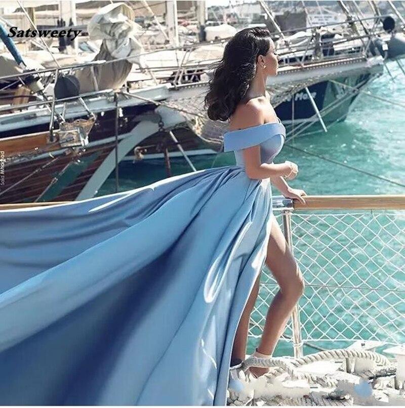Bleu ciel robes de demoiselle d'honneur musulmane 2019 a-ligne Cap manches fente Sexy formelle islamique dubaï caftan saoudien arabe longue robe de bal - 2