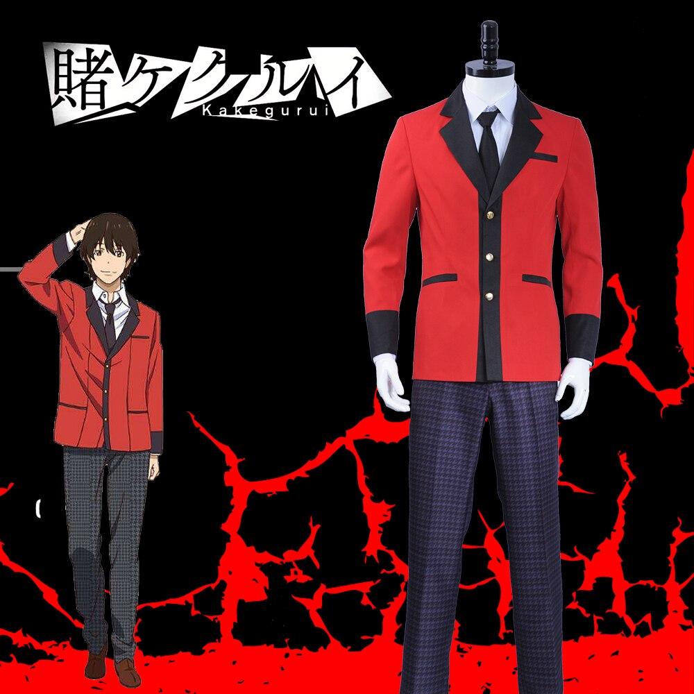 Kakegurui Compulsive Gambler Manyuuda Kaede Suzui Ryota Cosplay Costume Custom Men Uniform Red Jacket Printed Pants
