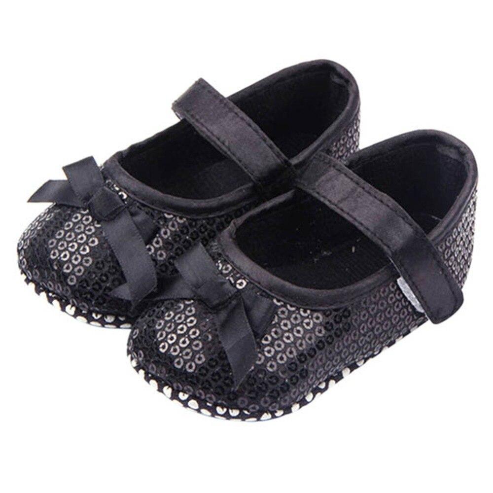 Baby Girl Bling Sequined Shoes Bow Decor Black Shallow Soft First Walker Prewalker