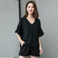 New 2018 Summer style Women black chiffon shirt V neck female flare sleeve casual blouse tops plus size camisa XL XXXXXL 4XL 5XL