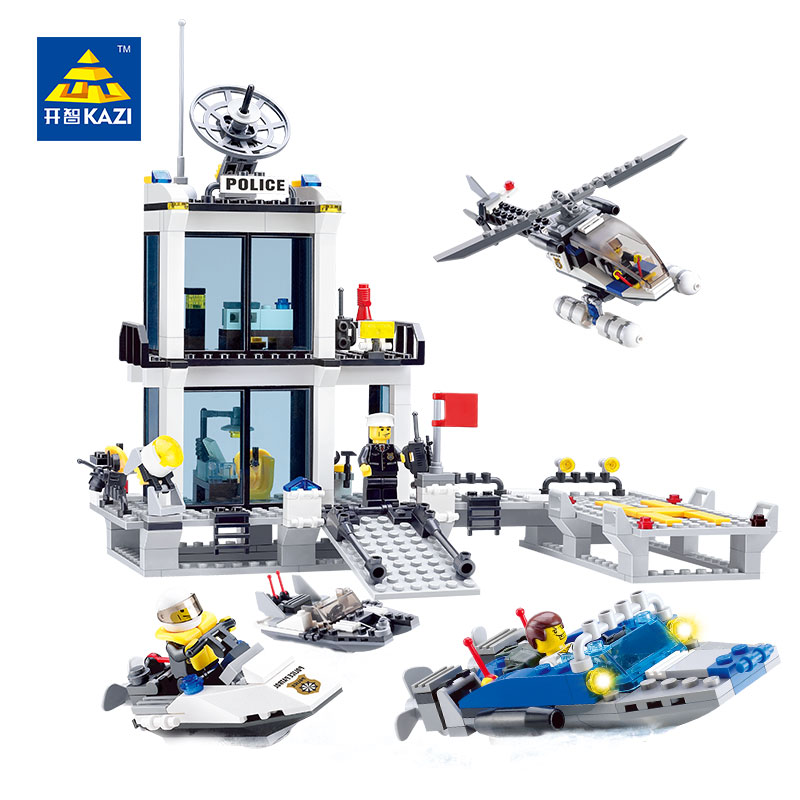 KAZI 6726 Police Station Building Blocks Sets Model 536pcs Helicopter Speedboat Educational DIY Bricks Toys For Children 2017 kazi 98405 wz 10 military helicopter blocks 480pcs bricks building blocks sets enlighten education toys for children