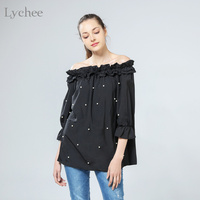 Spring Summer Lolita Sexy Women Blouse Pearls Bead Off Shoulder Ruched Puff Long Sleeve Shirt