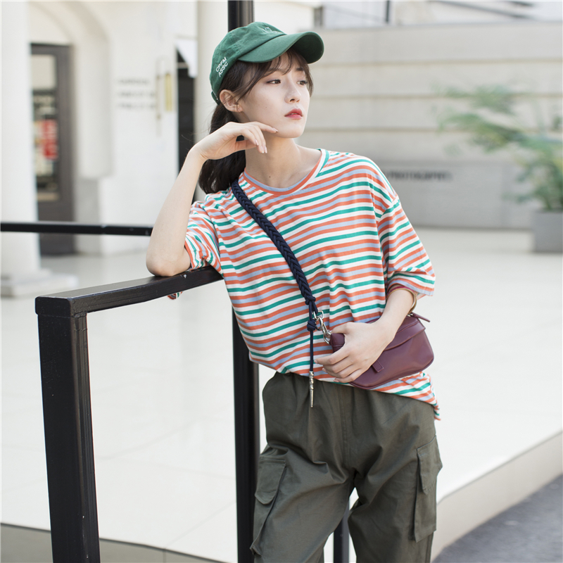 Casual Lady Tunic Vintage Striped T-shirt Women's Tshirts Japan Kawaii Ulzzang Female Sweet Lovely Harajuku Tshirt For Women