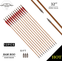 LongbowMaker 12PK Traditional Handmade Duck Feathers Hunting Bamboo Arrows Ali Bow Archery Fletching