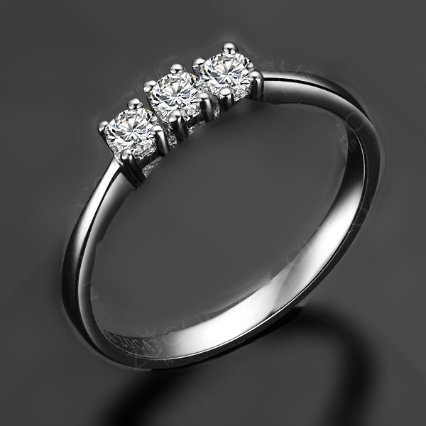 Genuine Gold Solid Jewelry 3 Stones Ring Mini Wedding Diamond Ring