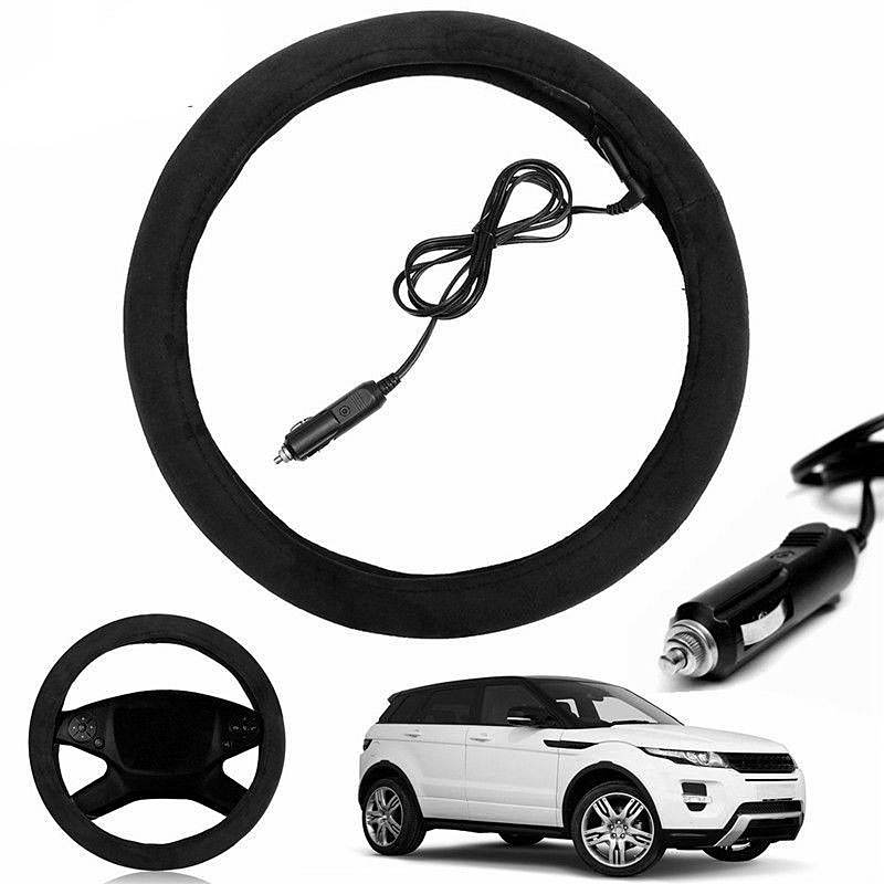 38cm 12V Auto Car Lighter Plug Heated Heating Electric Steering Wheel Covers Warmer Winter Universal Steering Covers