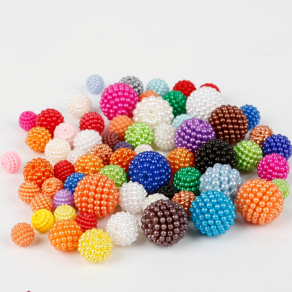 100pcs/lot Bayberry Beads 10mm Acrylic Round Imitation Pearl Beads Fit Europe Beads For Jewelry Making DIY Accessories(China)