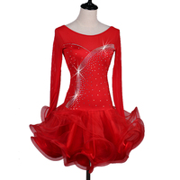 Long sleeve latin dance dress women gules Sky blue Fixed blue Violet salsa latin competition dress latin dress for girls woman