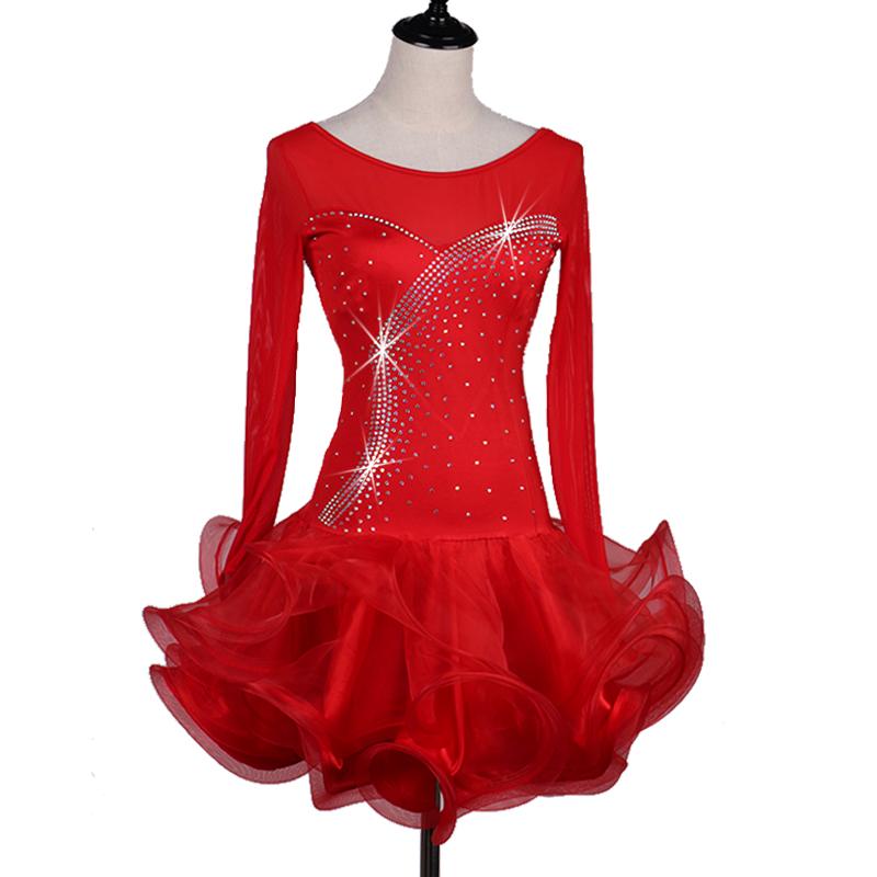 Robe de danse latine à manches longues femmes gules bleu ciel fixe bleu Violet salsa robe de compétition latine robe latine pour filles femme