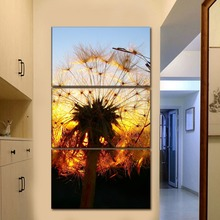 Modular Canvas HD Printed Paintings Wall Art Poster 3 Pieces Dandelion Lit Up By the Setting Sun Pictures Home Decor Living Room