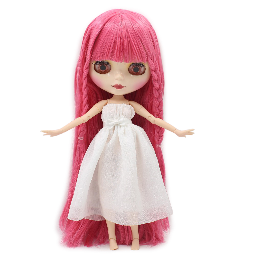 Free shipping ICY blyth doll pink hair with fringes/bangs shiny face joint body bjd neo BL2476 gift toy free shipping icy doll joint body natural skin black hair bjd toy gift bl117