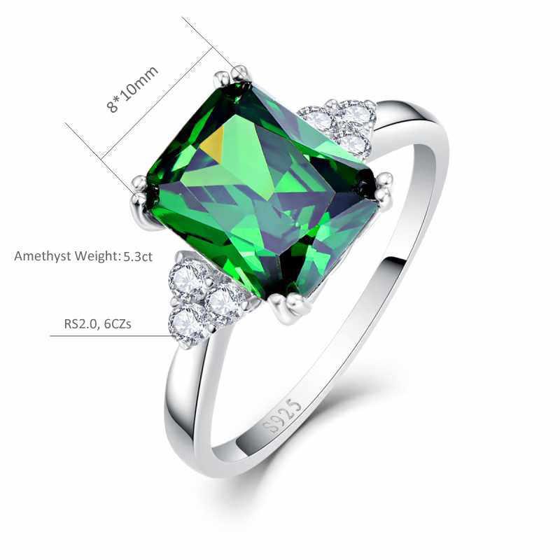 2018ผู้หญิงแต่งงานแหวนพลอย5.25ct 925แหวนเงินอเมทิสมรกตตัดสีม่วงสีเขียวธรรมชาติหินเครื่องประดับ