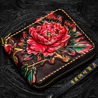 Hand made Ladies Short Wallets Butterfly Peony Purses Women Clutch Vegetable Tanned Leather Wallet Card Holder Christmas gifts