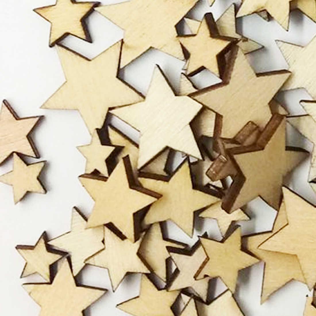 למעלה מכירת 100/50Pcs Romatic סגנון עץ כוכב סיבית אופנה עץ בית קישוטי DIY חג המולד המפלגה רעיונות