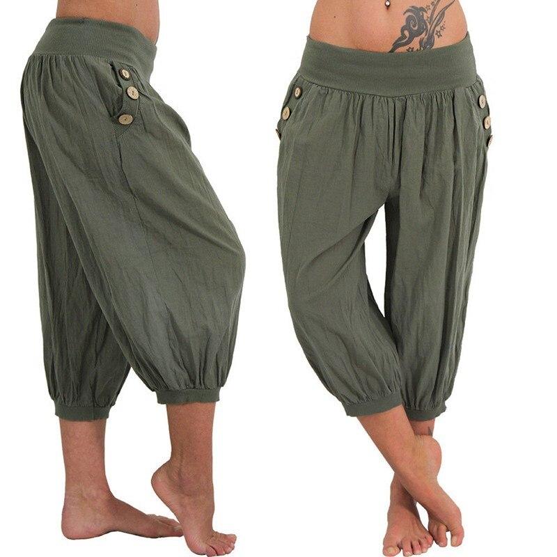 452d701a7a11 Plus Size 5XL 2018 Women Summer Pocket Solid Harem Pants Loose Elastic Waist  Knee Length Trousers Female Capris Trousers