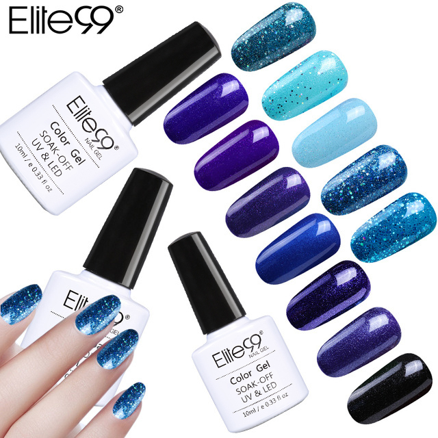 Elite99 Heiße Verkäufe Schöne Blau Farben Nagellack LED UV Gel Lack Lak Lange Anhaltende 10 ml Gel Lack Gelpolish nail art
