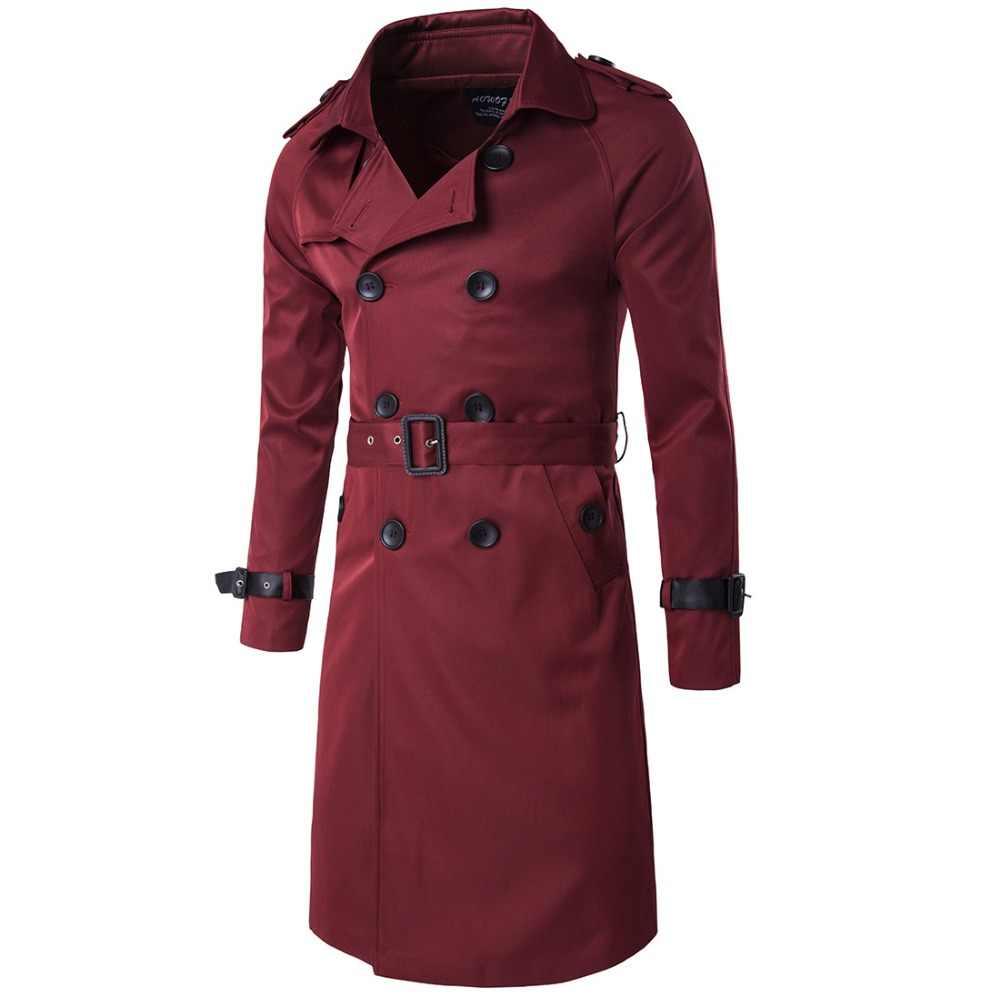 Männer Trenchcoat Britischen Stil Klassische Graben Mantel Jacke Zweireiher Lange Dünne Outwear Verstellbaren Gürtel Leder Hülse Gürtel