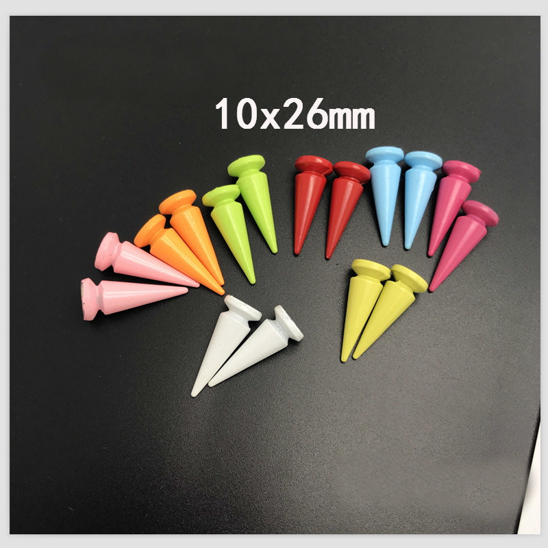 10pcs 10*26mm  Bullet Cone  Colored Spikes And Studs For Clothes DIY Handcraft Cool Punk Garment Rivets For Leather Bag Shoes