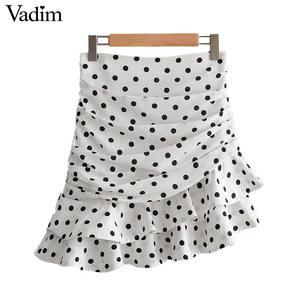 Image 1 - Vadim 女性ポルカドットホワイト非対称ミニスカートフリルプリーツハイウエストバックジッパー女性の不規則なシックなスカート BA717