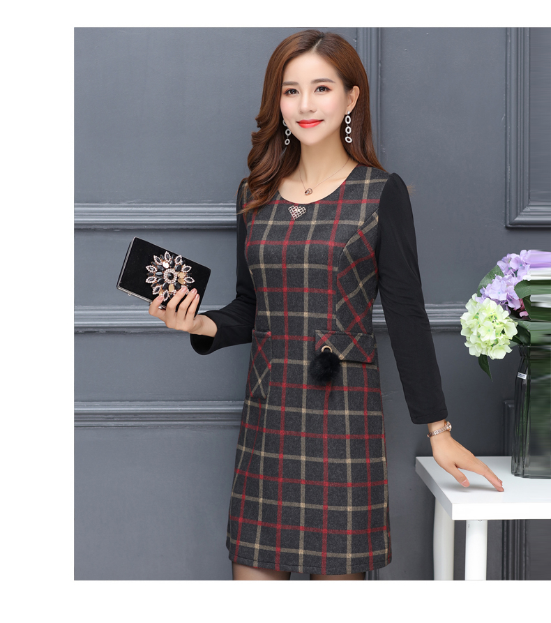 Winter Woman Elegant Tweed Dress Red Yellow Plaid Pattern Blends Robe Femme Thicken Fleece Dresses Woman Warm Shift Dress Office Outfits (7)
