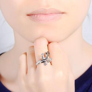 Image 5 - Женский комплект украшений SANTUZZA, кольцо и сережки в виде ящерицы из серебра 925 пробы с кубическим цирконием цвета шампанского, модные ювелирные украшения для вечеринки