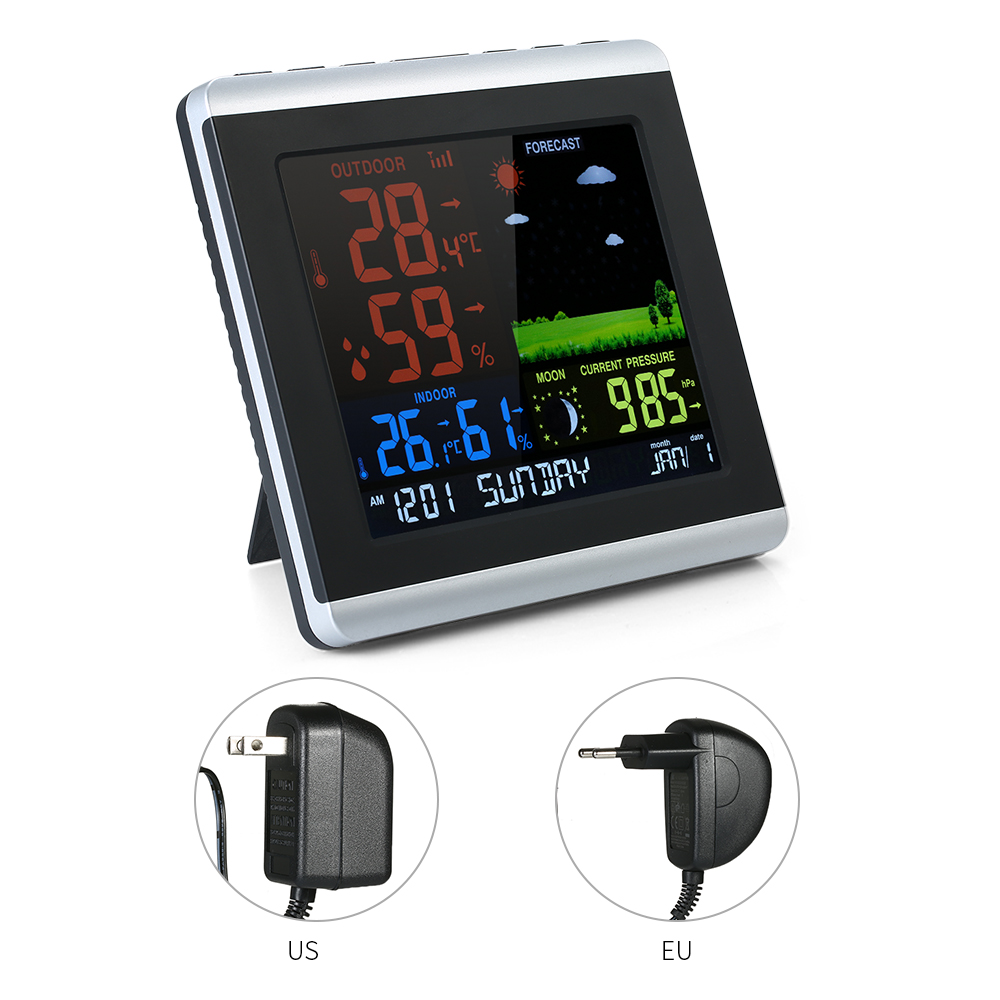 Wireless Thermometer Hygrometer Weather Station LCD Forecast Clock Indoor Alarm Clock Calendar Temperature Humidity Meter bohemia ivele crystal 5513 5 141 120 g