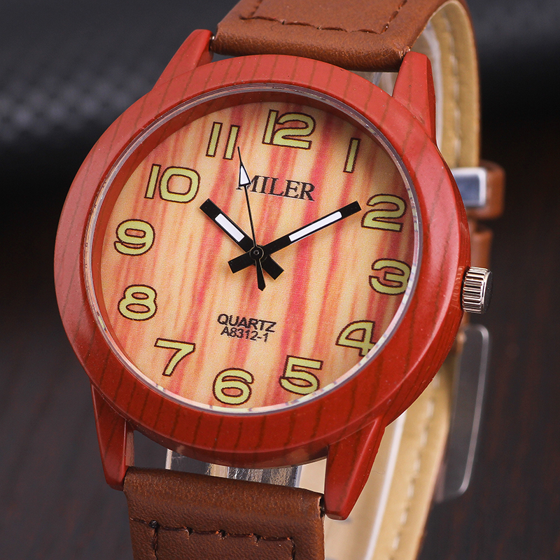 MILER Fashion Watches For Men and Women Gift Top Brand Quartz Watch Imitation wooden Wrist watch relogio masculino Clock Hours 2016 aladdin and the magic lamp watch the young men and women fashion quartz pocket watch table birthday gift ds262
