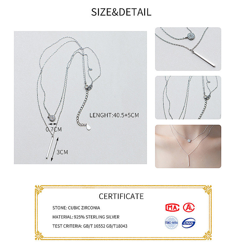 INZATT Real 925 Sterling Silver Elegant Double Layer Geometric Pendant Necklace Fine Jewelry For Women Wedding INZATT Real 925 Sterling Silver Elegant Double Layer Geometric Pendant Necklace Fine Jewelry For Women Wedding Party Bijoux