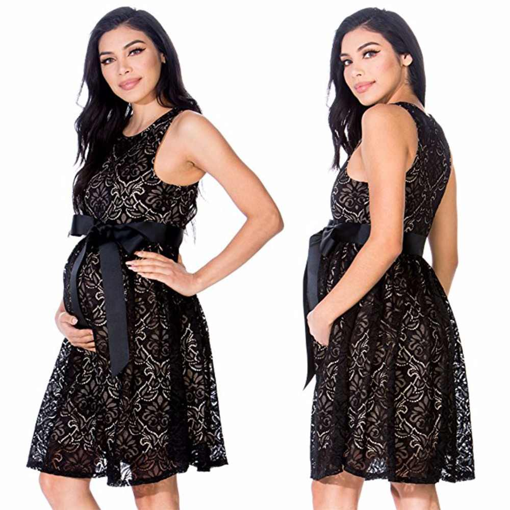 32001f3d3214b Puseky Pregnant Dress Short Dress Women Casual Sleeveless O Neck Hollow Out  Lace Evening Party Maxi Maternal pregnancy dresses