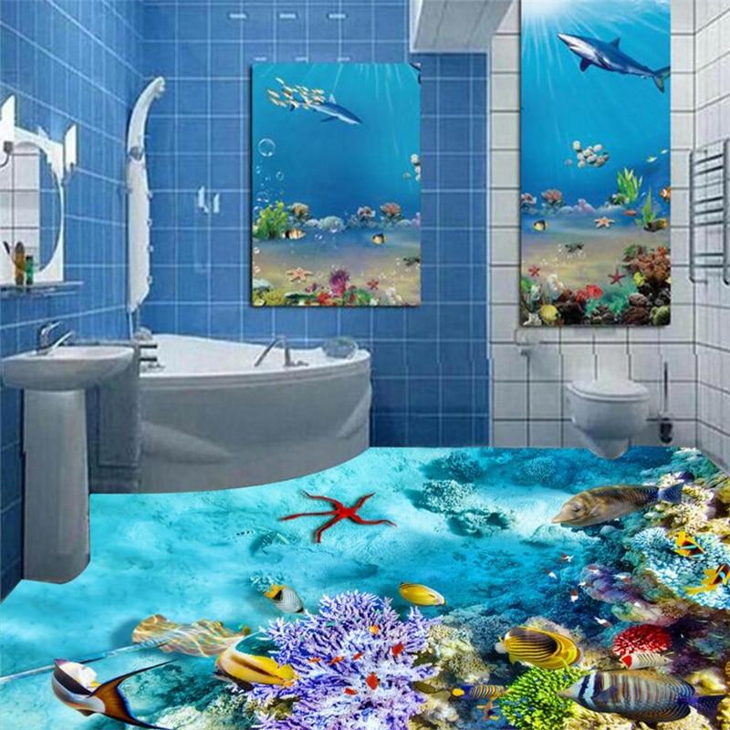 Beibehang Coral Fish Floor Murals Wall Stickers 3D Wallpaper Floor For Living Room PVC Floor Self Adhesive 3D Floor Wall Paper