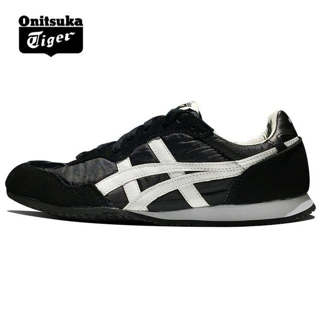 c33273833665 Original ONITSUKA TIGER SERRANO Shoes Men s Women Woven and anti-fu Black  white Unisex low Classic Sneakers Badminton shoes
