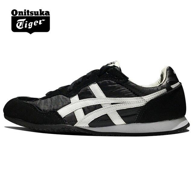 46d784183d72a Original ONITSUKA TIGER Sapatos das Mulheres Dos Homens Tecido SERRANO e  anti-fu Preto branco