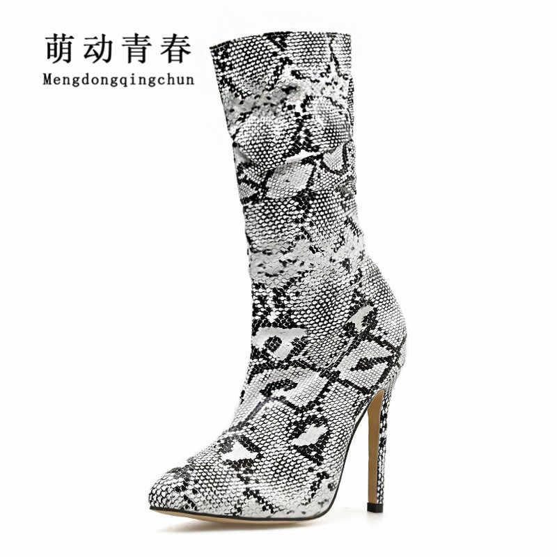 Otoño Invierno Mujer media pantorrilla tacones finos doblar Botas Mujer Sexy serpentina puntiagudas Botas de montar con estampado de serpiente Mujer
