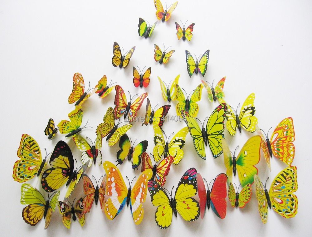 Free shipping Home Decoration 12 Pcs DIY 3D Magnetic Butterfly ...