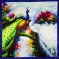 100% Bufanda de Seda de Las Mujeres Pañuelo De Seda Bufanda Del Pavo Real 2017 Foulard Pañuelo Grueso Plazoleta Bufanda de Seda de la Señora de Lujo de Regalo