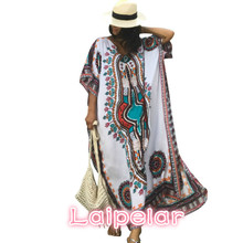65847b12bc Plus Size Women Summer African Ethnic Print Kaftan Maxi Dress 2018 Summer  Loose Vintage Boho Beach