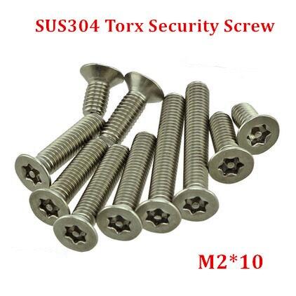 100pcs M2*10 Countersunk Torx Screw Stainless Steel Flat Head Tamper Resistant Proof Security Screws--1pcs Free Screw Driver