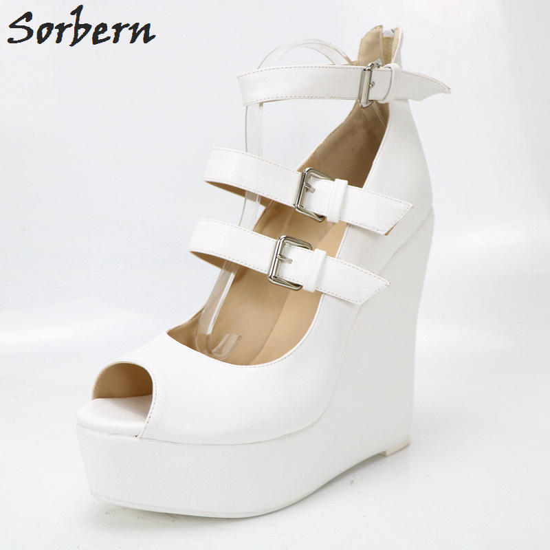 c56a3007193 Sorbern White PU Women Pumps High Heel Wedges Platform Peep Toe ...