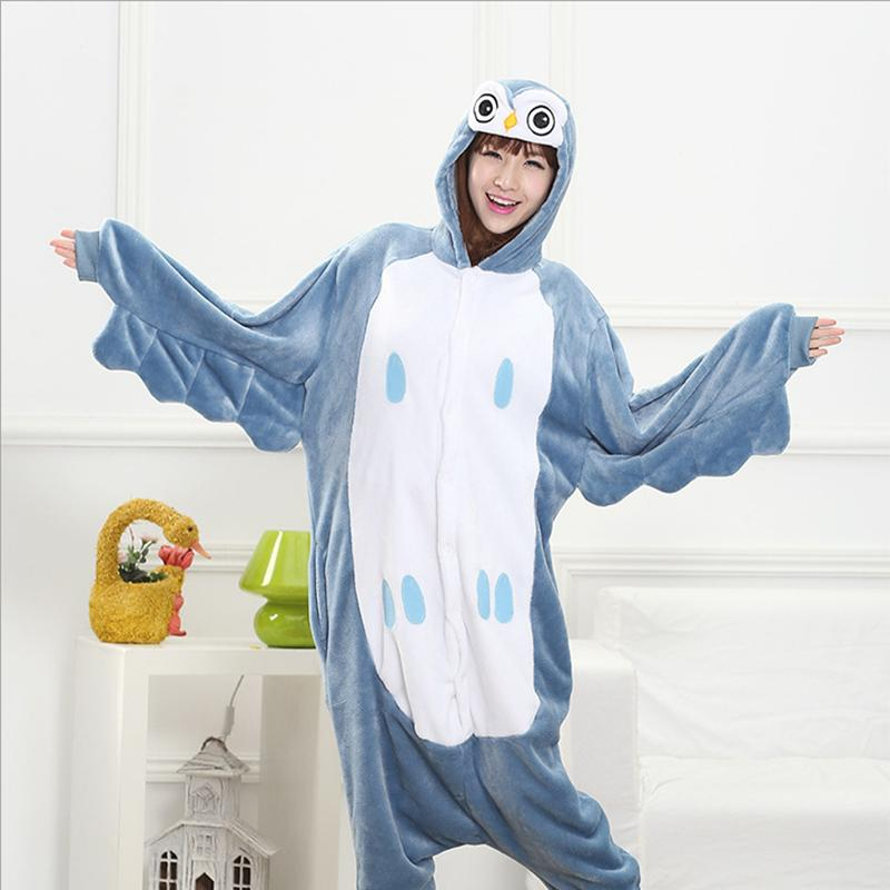 Winter 2017 All in One Flannel Anime Pajamas Set Cute Cartoon Owl Adult women Lady Warm Homewear Animal Pajamas Pyjama