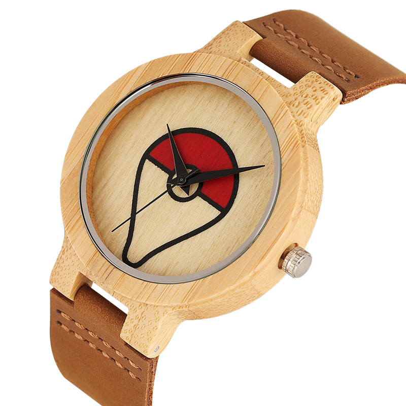 Casual Delicate Eco-friendly Wooden Watch Women Men Quartz Watch Movement Creative Deformation Pokemon Pattern Bamboo Wristwatch