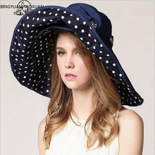 BINGYUANHAOXUAN 最高品質女性太陽夏の太陽キャップ女性ワイド折り畳まつばプリントニット帽子大 Sunhat