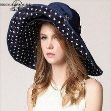 BINGYUANHAOXUAN Top Quality Lady Sun Summer Sun Cap Women Folded Wide Brim Print Knit Hat large Sunhat