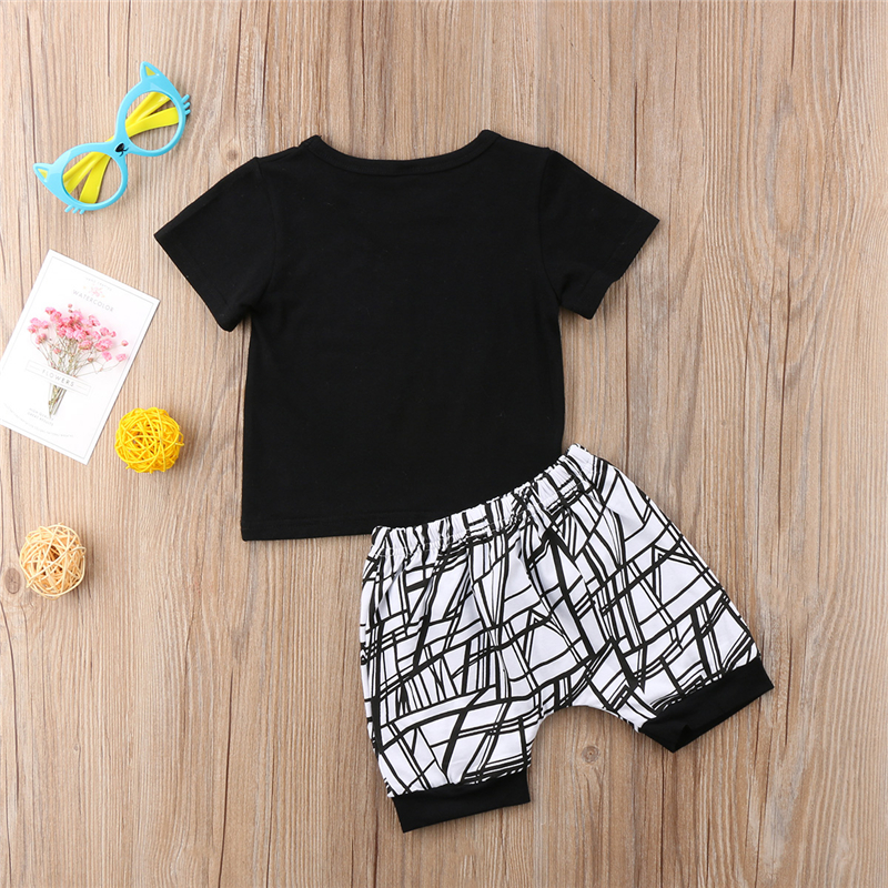 b4be872f5 Emmababy Cute Infant Baby MAMAS Boy letter black T-shirt Tops+Pants ...