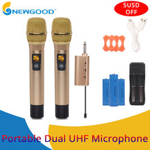 цена на Handheld UHF Wireless Microphone 1 way Metal Karaoke Microphone mic studio microphone for computer PC camera with Receiver