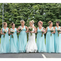 2016 Pastel Blue Bridesmaid Dresses with V Neck A line Chiffon Bridesmaid Dress Long Plus Size Wedding Party Dresses New Arrival