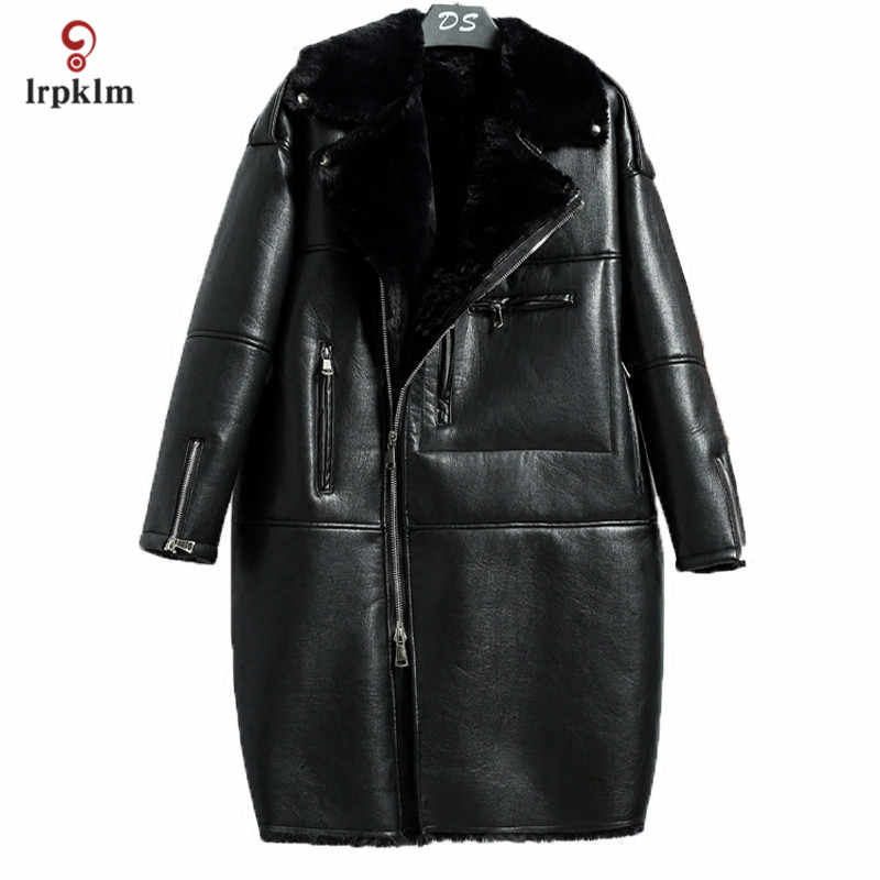 2019 New Fashion Weman's Winter High Imitation Faux Fur Coat Middle Long Turndown Collar Jacket Warm Loose Parkas Black PQ063