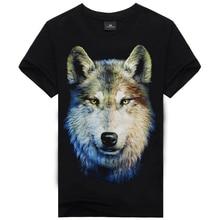 New Arrival 2016 Summer T-shirt Men 3d Print Wolf Short Sleeve T Shirts Casual Brand Men 100% Cotton Shirt Men Clothes Tops
