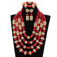 New Dubai Gold Bridal Statement Necklace Set Luxury 4 Layers Red Coral Nigerian Wedding Beads Jewellery Set Free Shipping ABH591