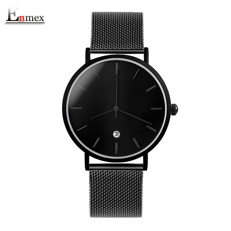 Enmex creative style cool wristwatch cool black charm with calendar casual Stainless steel fashion Stylish clock quartz watch enmex cool design men wristwatch stainless steel simple stylish mystiqu two hands simple brief face quartz clock fashion watch